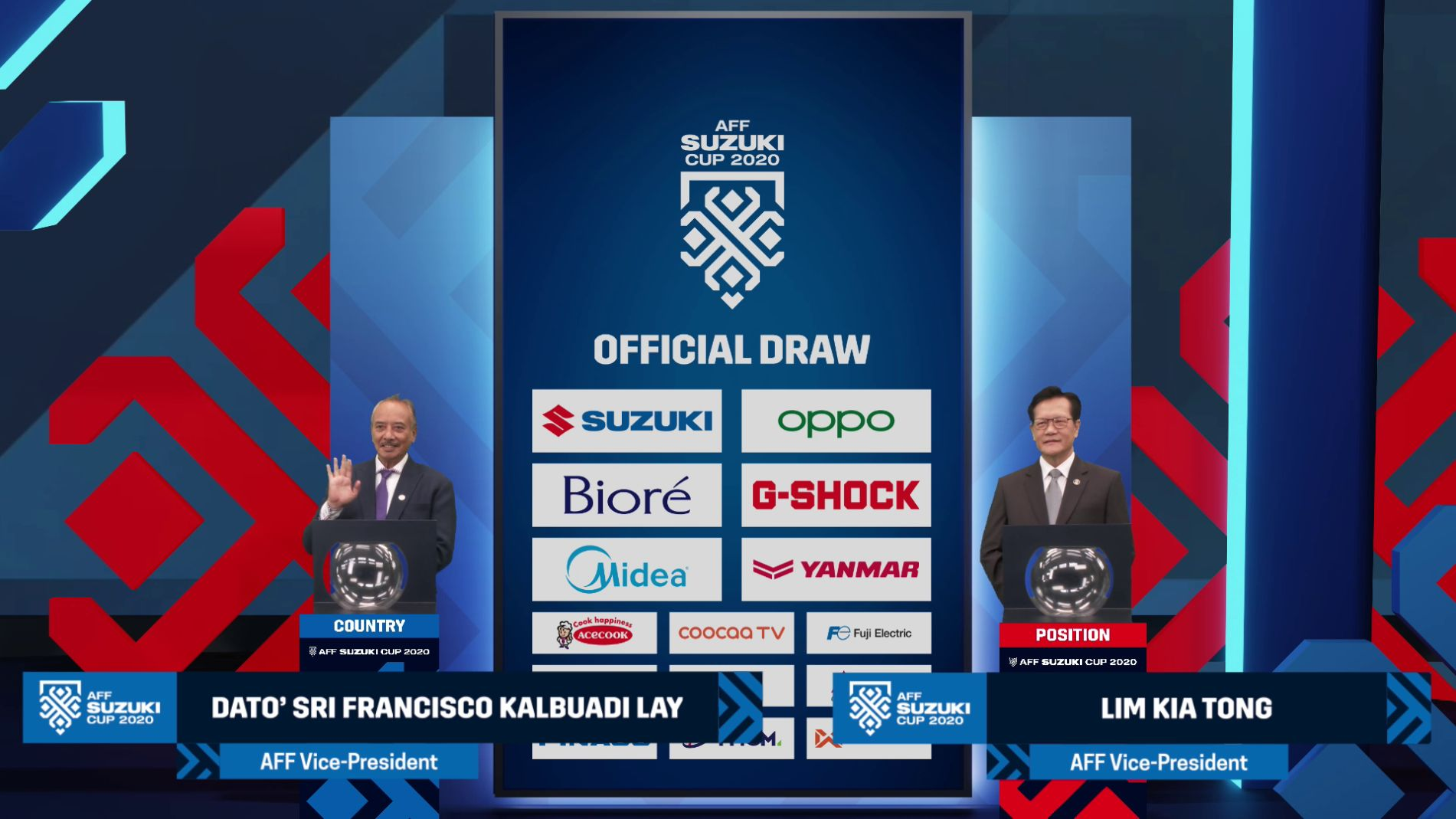 Aff Suzuki Cup 2020 Official Draw Aff Vps With Sponsors Backdrop With L3 Gfx
